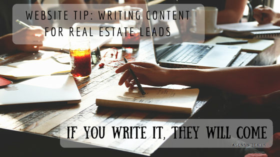 Website Tip: How to write website content to generate real estate leads